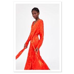 Zara Jacquard Dress With Knot - NWT